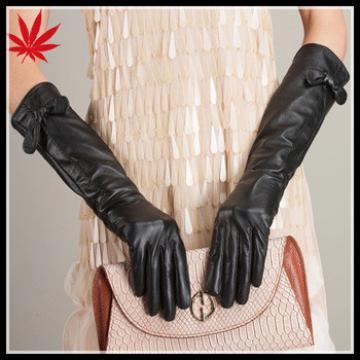 Women's long cuff leather gauntlet dress gloves