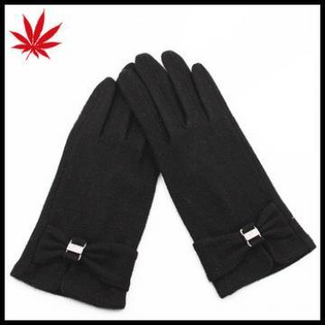 Fashion Strip and Bow Detailing Polyester Spandex Velvet Black Women Gloves