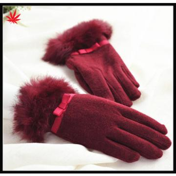 2016 the most popular lady red woolen gloves with bowknot and rabbit Fur