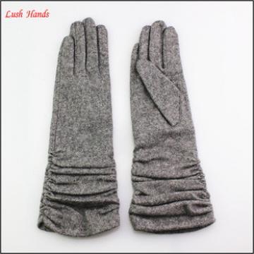 Ladies wearing spring thin long wool gloves