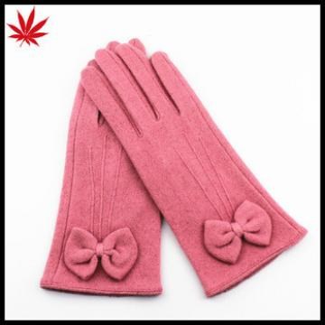 2016 new style cheap red 100% wool gloves With bow