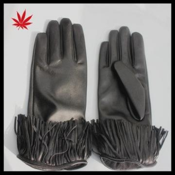 ladies fashion leather gloves with fringe detail
