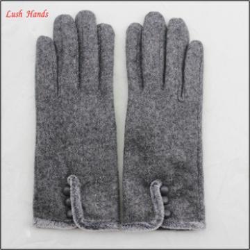 ladies winter warm grey woolen dress fashion hand gloves with fur and button