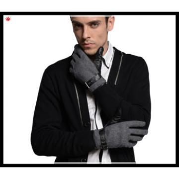 men's fashion grey woolen gloves with belt buckle leather palm