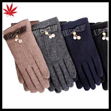 custom sheep wool winter ladies warm leather glove with PU bows