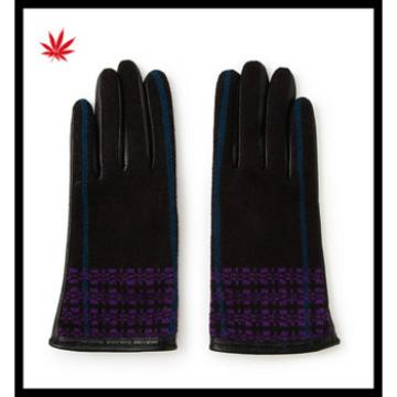 hot selling ladies fashional checker high-grade gloves made of half woolen half leather