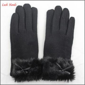 ladies warm black woolen hand gloves with fur wholesale winter gloves