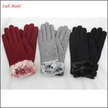 2016 new ladies wholesale chenille woolen fur gloves