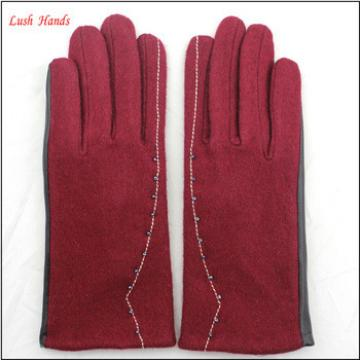 Lady's new style affordable leather-woolen gloves with supersoft polyester lining