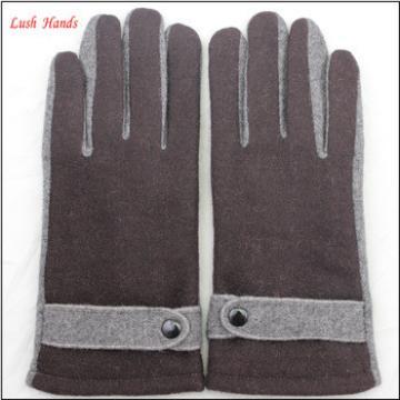 men simple brown woolen hand gloves men with belt