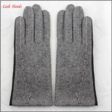 ladies simple party dresses grey woolen and PU hand gloves