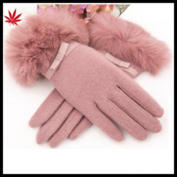 2015 fashion lady's fur rabbit woolen gloves