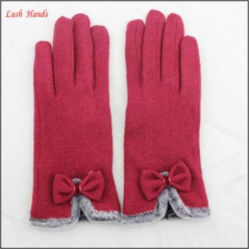 cheap women dress woolen winter thin hand gloves with bowknot