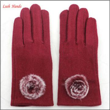ladies economical affordable fashion woolen gloves decorated with fur ball
