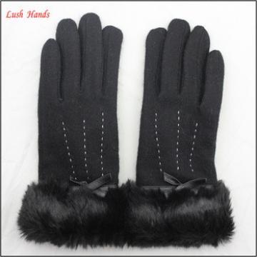 women woolen cheap hand gloves winter dress gloves with black fake fur