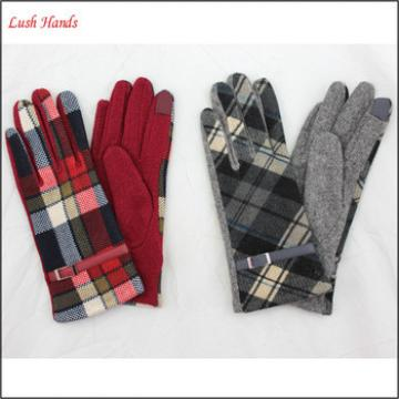Woolen gloves 2016 top grade class ladies fashion fabric wholesale leather gloves