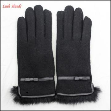 ladies winter cheap black woolen hand gloves with fur