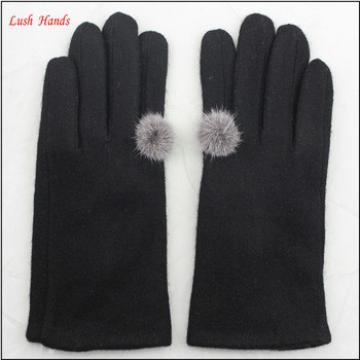 ladies winter cheap black woolen hand gloves with buld