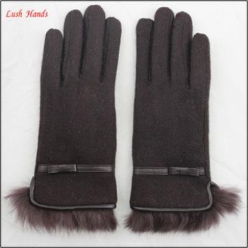 ladies winter warm brown woolen hand gloves with fur