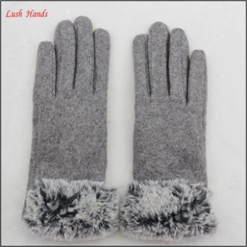ladies winter warm grey woolen hand gloves with fur