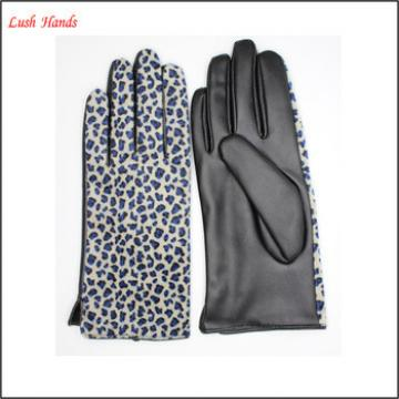 Cheap women fake leopard fur and PU leather stitching gloves wholesale price gloves