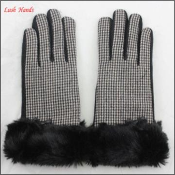 Fashion ladies woolen gloves with fake fur cuff for wholesale