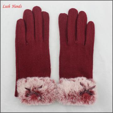 Fashionable ladies warm rabbit fur cuff woolen gloves for bulk sale