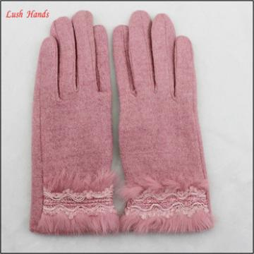 2016 hot sale woolen gloves with rabbit fur polyester lining