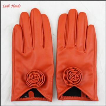 ladies orange PU leather hand gloves ladies fashion dresses leather gloves