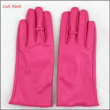 2016 ladies hot sale spring pink PU leather hand gloves with ring