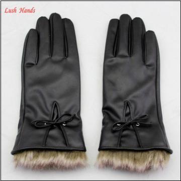 ladies PU working leather gloves women winter