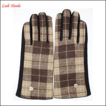 2016 ladies touch-screen grid fabric woolen gloves