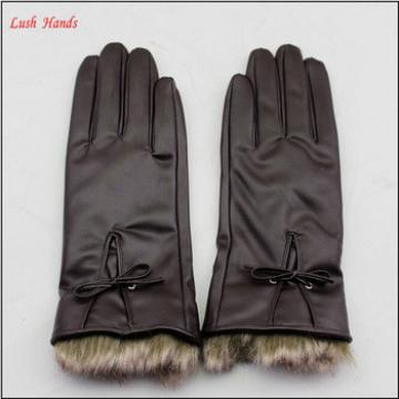 Women's PU Leather Gloves with Fur Cuffs