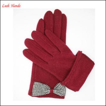 ladies fingered plain spandex velvet gloves with bow