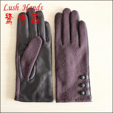 2016 hot selling back of cloth Palm of sheepskin leather joint ladies gloves