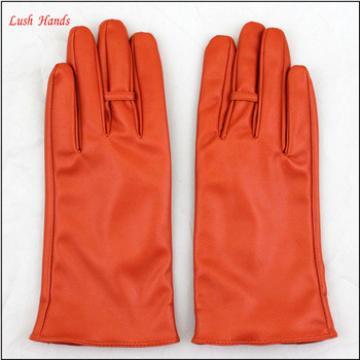 Fashion Women wholesale orange PU Leather Winter Gloves