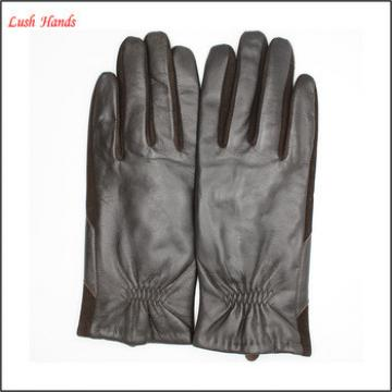 2017 fashion good quality sheepskin and suede joint leather gloves