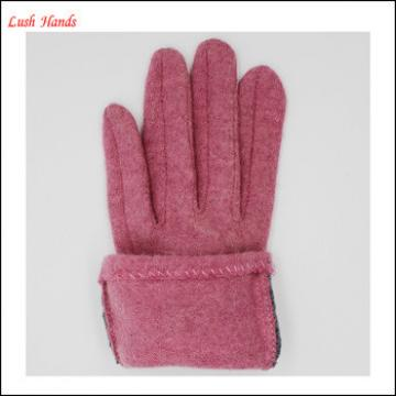 ladies pink woolen gloves with rabbit fur ball