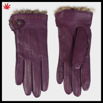 women basic style handmade leather glove rabbit fur lined leather glove