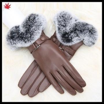women /ladies classic elegant sheepskin leather gloves with rabbit fur