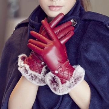 women fashion keep warm leather gloves with rex rabbit fur trim