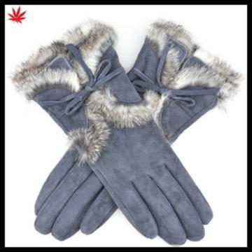 Women pigsplit warm winter leather gloves with rabbit fur