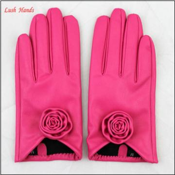 cheap gloves wholesale winter PU gloves color gloves with flower