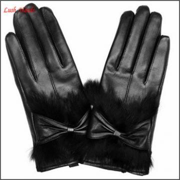 ladie fashion rabbit fur cuff black leather glove with bow