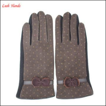 Ladies brown micro velvet gloves with classic bow for wholesale