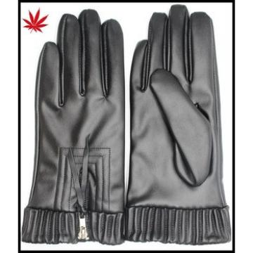 Fashion women leather gloves with Zipper