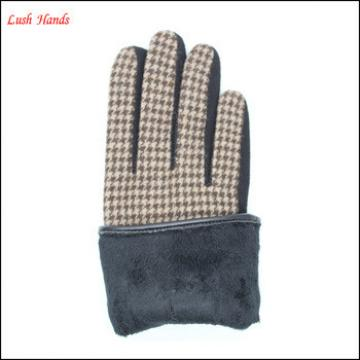 ladies wallow gird micro velvet gloves with black bow for wholesale