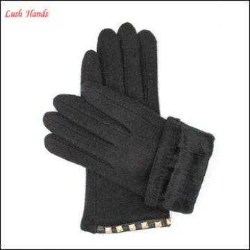 ladies simple woolen gloves decorated with square metal buttons for wholesale