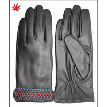 Ladies leather gloves and cuff with woven leather design details