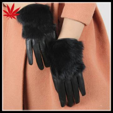 Lady warm leather gloves with rabbit fur lined